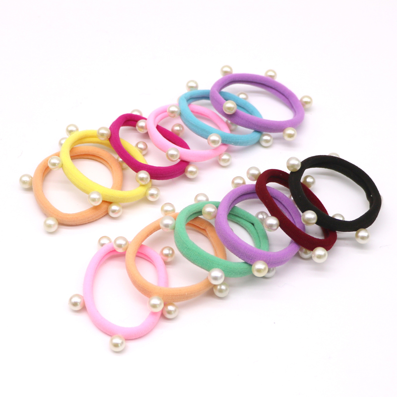 10Pcs Mix Colors Hair Accessories Pearl Rubber Bands   Headwear   For Women Elastic Hair Bands Girls Hair Tie Gum Ponytail Holders