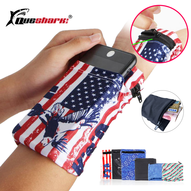 Queshark Running Bag Fitness Wrist Wallet Basketball Sweatband Jogging Arm Pouch Cycling Gym Badminton Wristband Phone Bag