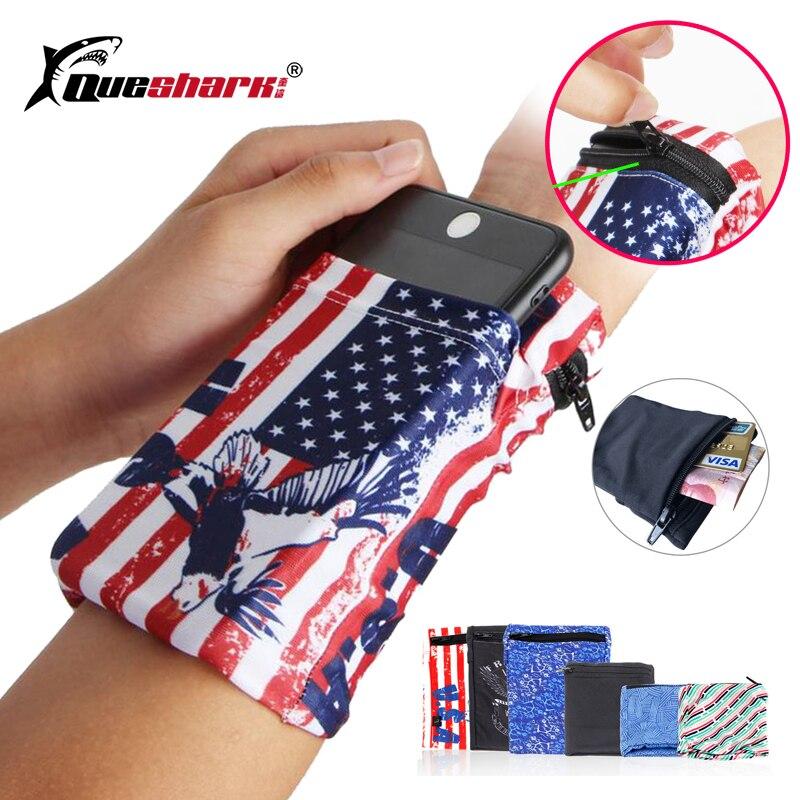 Queshark Running Bag Fitness Wrist Wallet Basketball Sweatband Jogging Arm Pouch Cycling Gym Badminton Wristband Phone Bag
