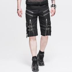 Steampunk men's cool zipper design black casual mid waist shorts fashion personality loose men's knee shorts