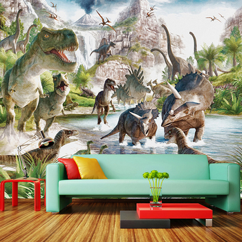 3D Wall Mural Wallpaper Custom Any Size Cartoon Children Wallpaper 3D Stereo Dinosaur World Backdrop Wall Decor Papel De Parede