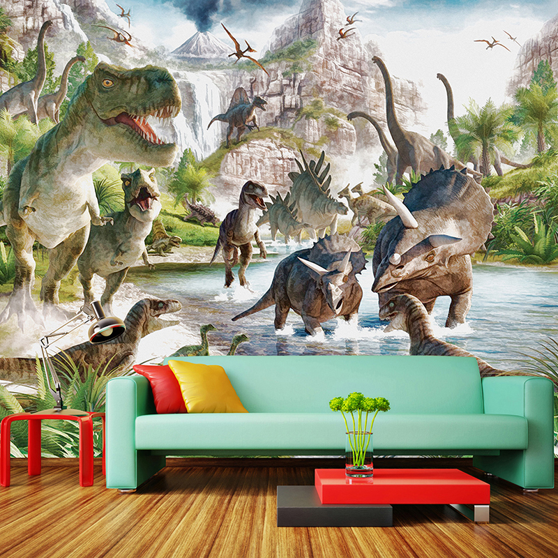 3D Wall Mural Wallpaper Custom Any Size Cartoon Children Wallpaper 3D Stereo Dinosaur World Backdrop Wall Decor Papel De Parede Обои