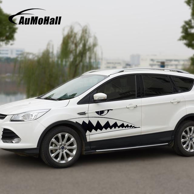 Aumohall halloween shark mouth sticker waterproof car stickers and decals car styling 1pair stickers on cars