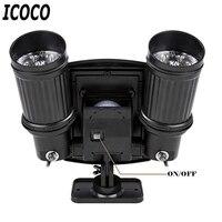 ICOCO LED Induction Dual Head Solar Lamp Spotlight Smart Infrared IR Induction Light Control Garden Yard