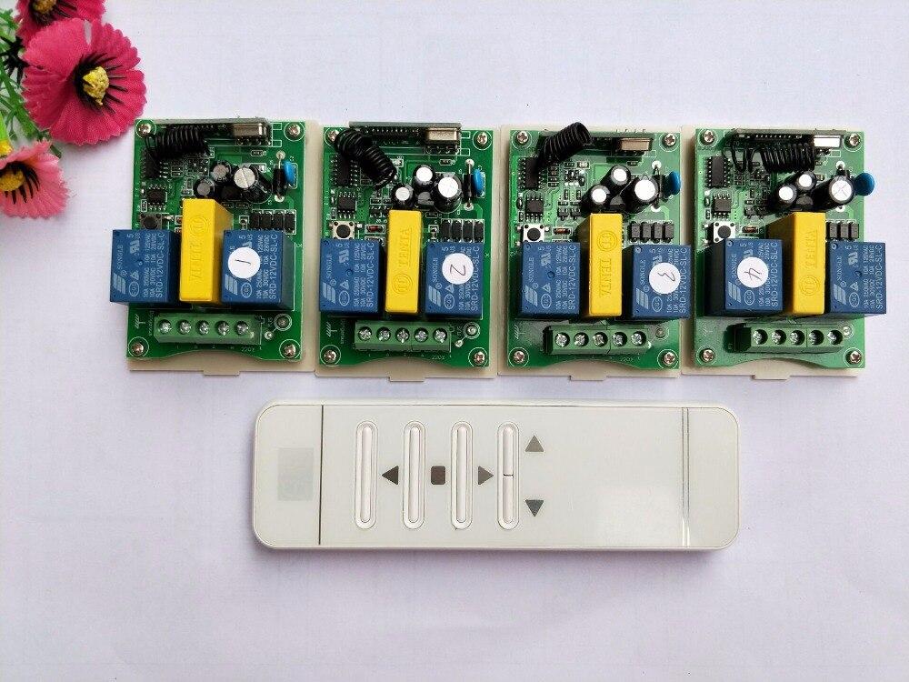 AC 220 В интеллектуальный цифровой РФ беспроводной пульт дистанционного управления системы + 4 шт. приемник для проекционный экран/двери гараж...