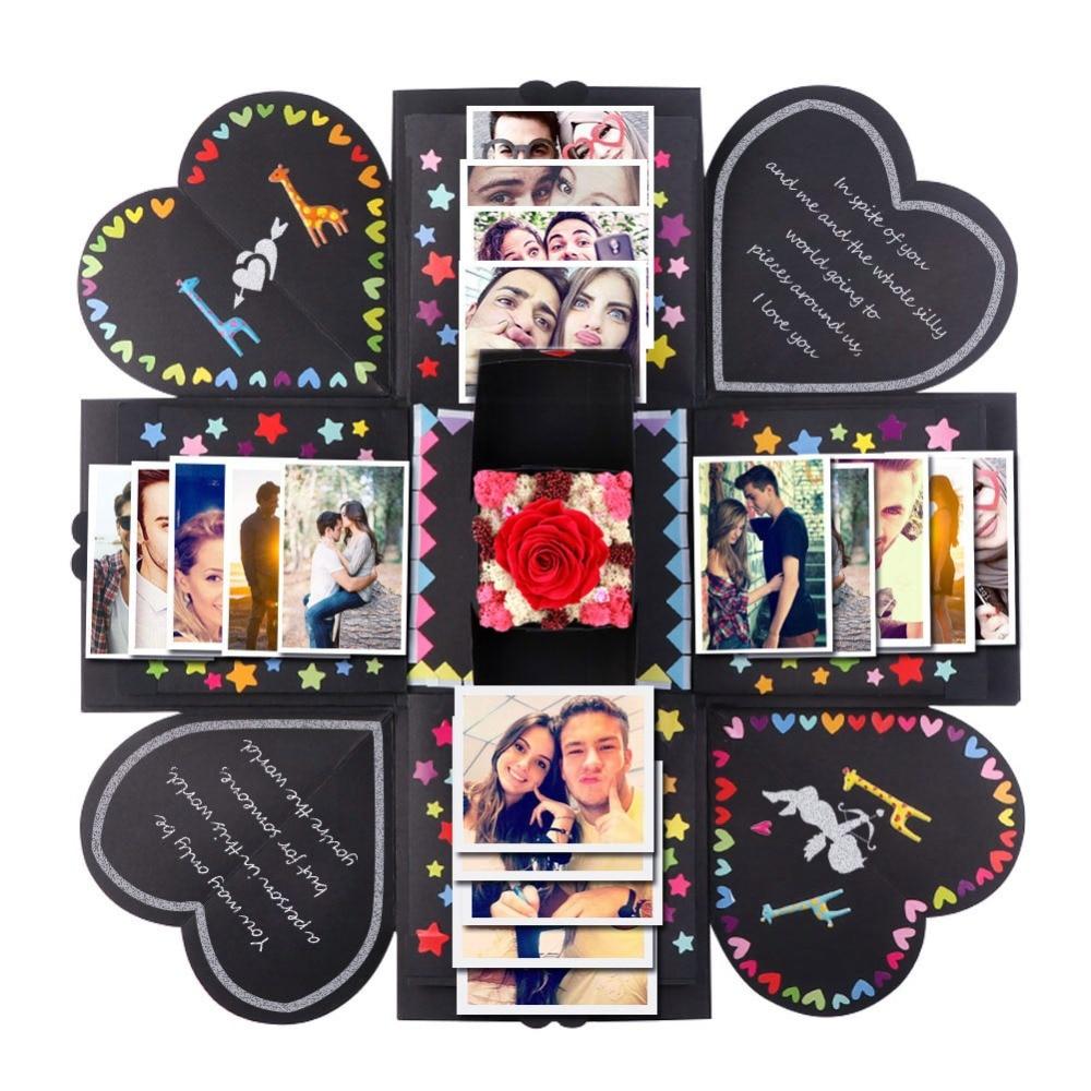OurWarm Creative Explosion Box Scrapbook DIY Photo Album Box Wedding Favors and Gifts Birthday Valentine's Day Anniversary Gift