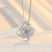 Luxury Crystal From Swarovski Midi Engagement Clover Wedding necklace for Women Vintage Anillo Bague Bijoux Femme
