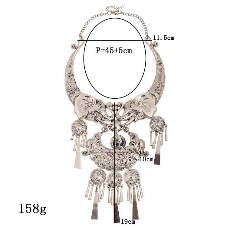 Бренд серебряные Цвет большой Макси ожерелье богемное модное