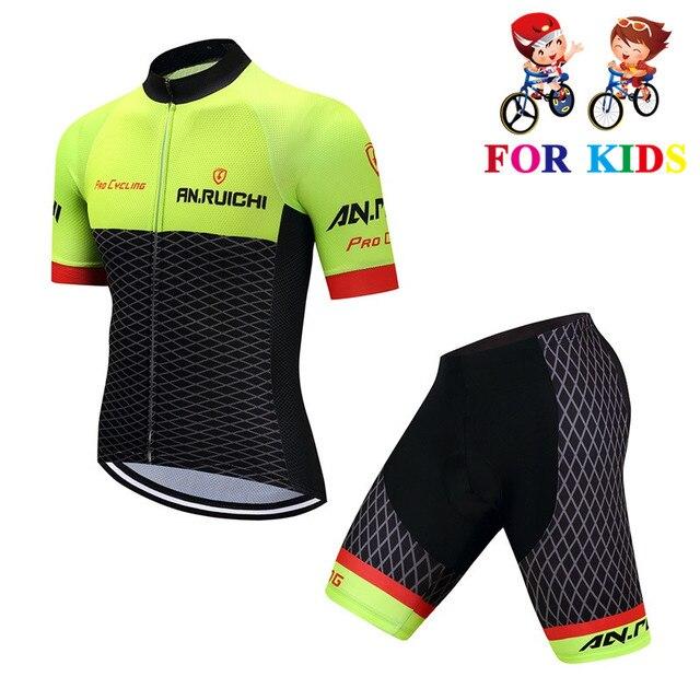Equipo nuevo niños ropa de Ciclismo conjuntos niños bicicleta de carretera de manga corta Ciclismo Jersey Kit Mtb bicicleta Maillot Roupa Ciclismo