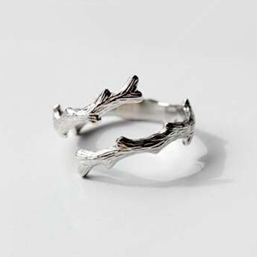 QIAMNI Unique Tree Branches Open Finger Ring 925 Sterling Silver