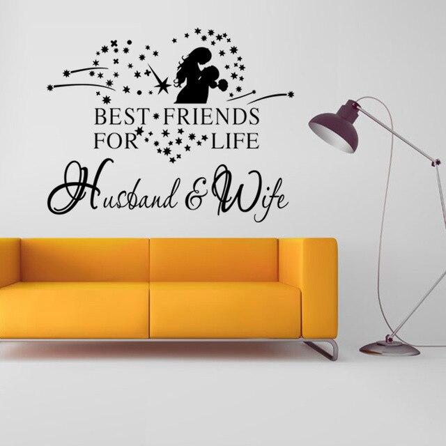 الزوج والزوجة ديكورات غرفة المعيشة ملصق الحائط الشارات الحب إقتباس نوم  الأزواج غرفة الديكور