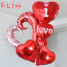 5pcs 40inch Hook Heart Inflatable Balloons I Love You  Ballons Wedding Valentines Day Event Party Decoration Globos