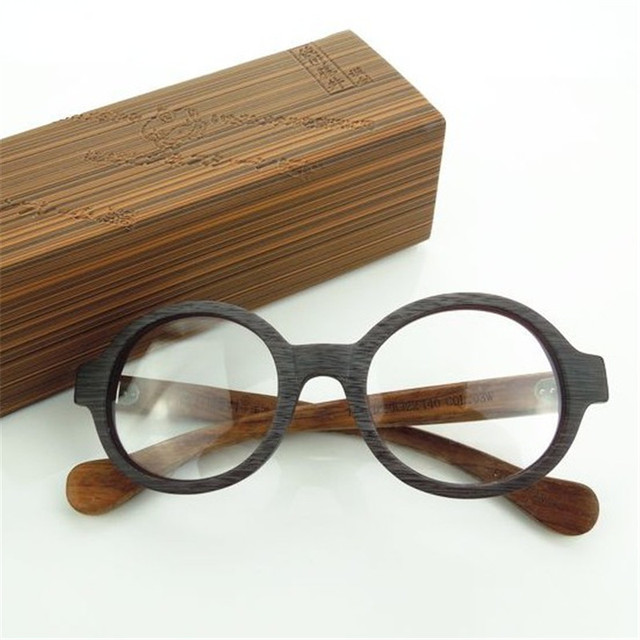 c575905e54ba6 Acetate Round Glasses Men Women Small Eyeglasses Frames for Man Vintage  Eyeglass Prescription Spectacles Wooden Grain Nerd Point