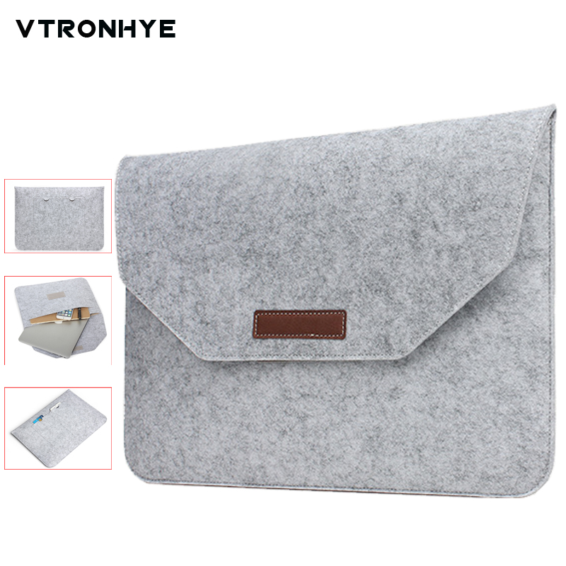 Slim Wool Felt 11 13 14 15.6 17.3 inch Sleeve Bag for Macbook Air Pro Retina For HP Dell Acer Lenovo Notebook Flip Laptop Cover ...