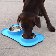 New Pet Dog Feeders Bowl Stainless Steel Double Mouth Dog Silica Gel Bone Type Pet Bowl for Small and Medium Dog Pet Supplies