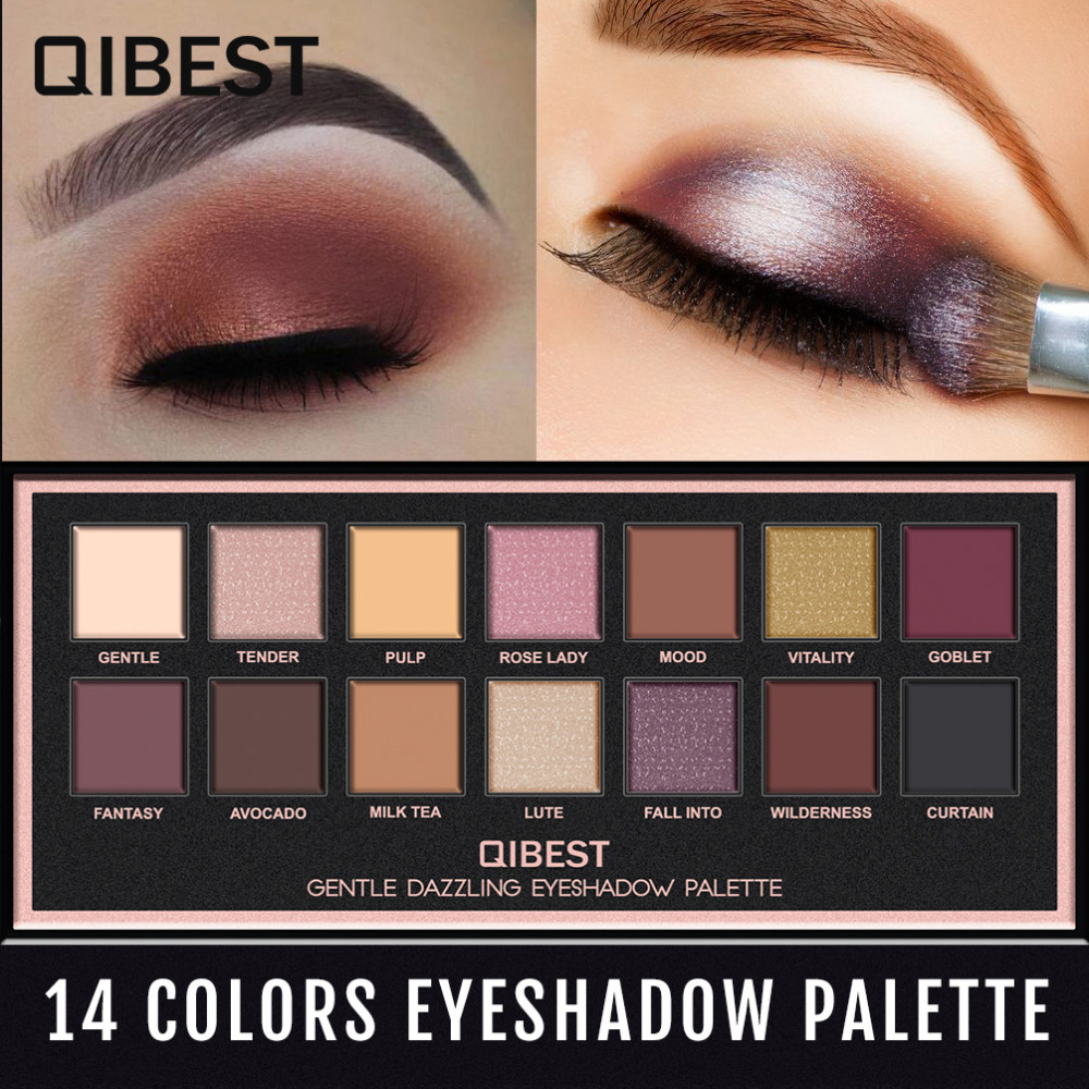 Qibest 14 Colors Eyeshadow Palette Makeup Waterproof Long-lasting Eye Shadow Matte Easy to Wear Makeup Palette paleta de sombra qibest 23colors set brand makeup matte proof lipstick long lasting effect soft waterproof matte lipsticks lip easy to wear