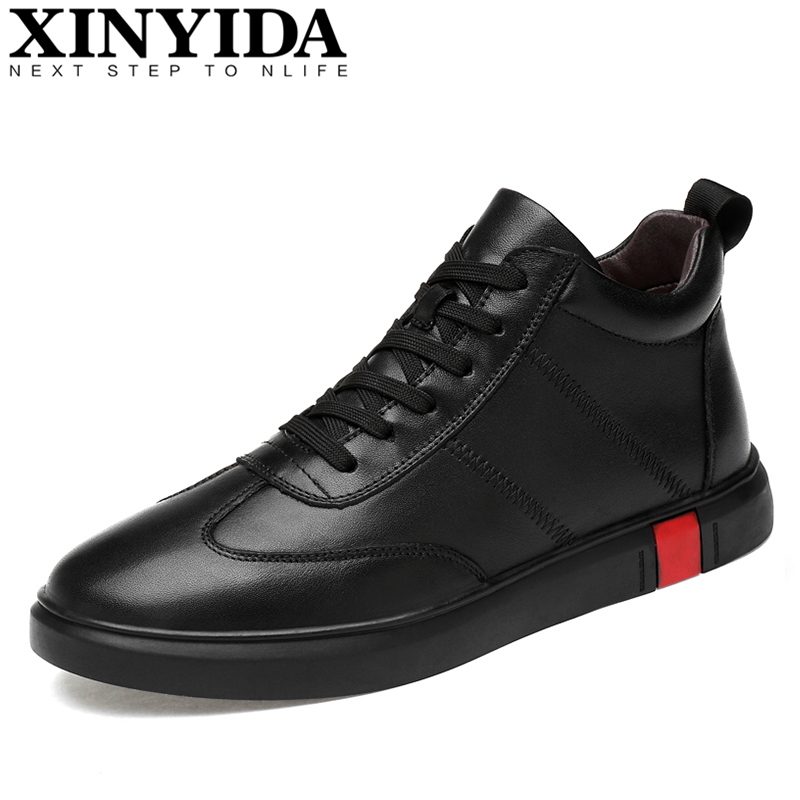 2018 Genuine Leather Men Skateboarding Shoes Lace Up Breathable Casual Sneakers Fashion High Top Trainers Shoes Plus Size 37-46