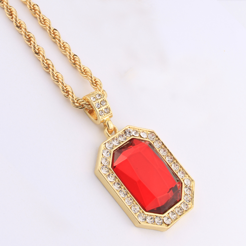 Aliexpress Com Buy Men Gold Plated Iced Out Oval Red
