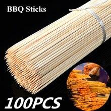 100 шт одноразовые деревянные инструменты для гриля, барбекю, бамбуковые шампуры для барбекю, Фруктовые палочки