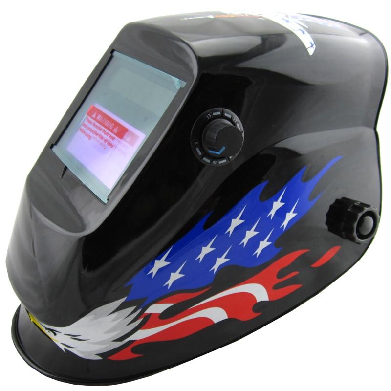 Manufacture selling eagle paint Li battery+ solar auto darkening welding  mask/welding helmet/welder glasses for the welder use welding helmet welder cap for welding equipment chrome for free post