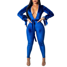 Sexy Deep V-neck Bright Fabric Jumpsuits Romper Bow Sleeve Belted Back Hollow Out Jumpsuit Overalls Autumn pocket patched v neck belted romper