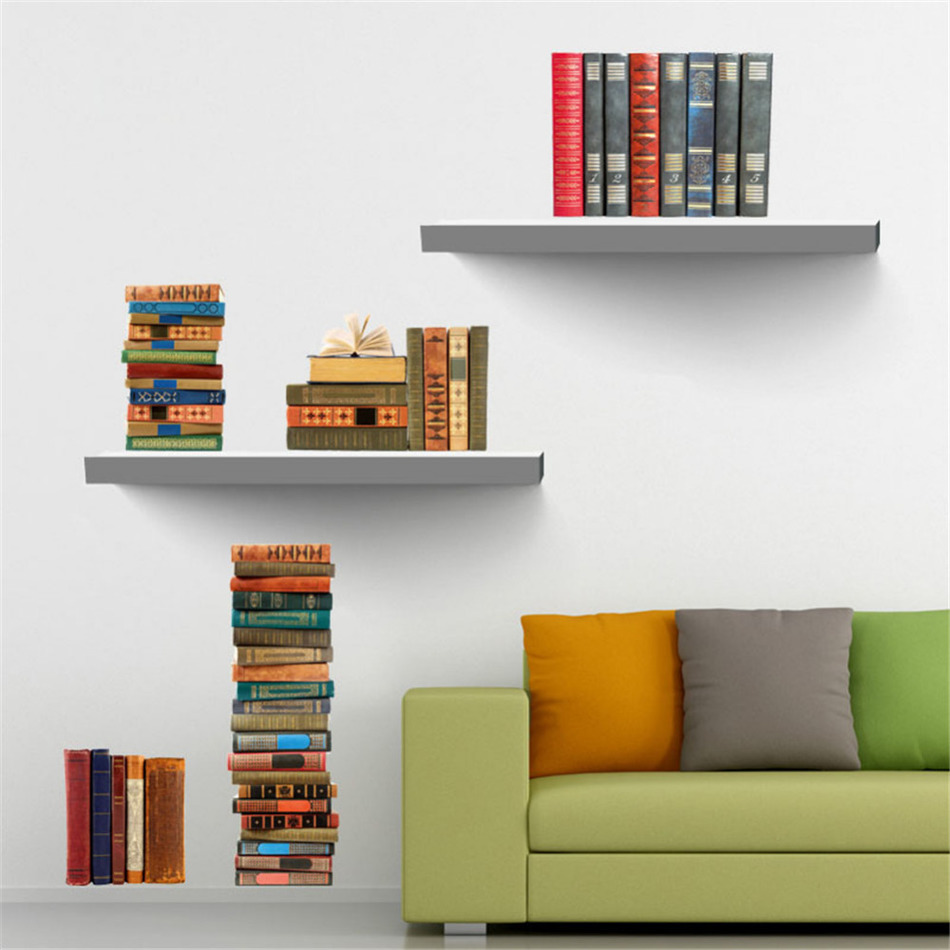 aliexpresscom  buy book bookshelf removable wall sticker tv  - aliexpresscom  buy book bookshelf removable wall sticker tv backdropdecals wall stickers for kids room home decor free shipping from reliablesticker for