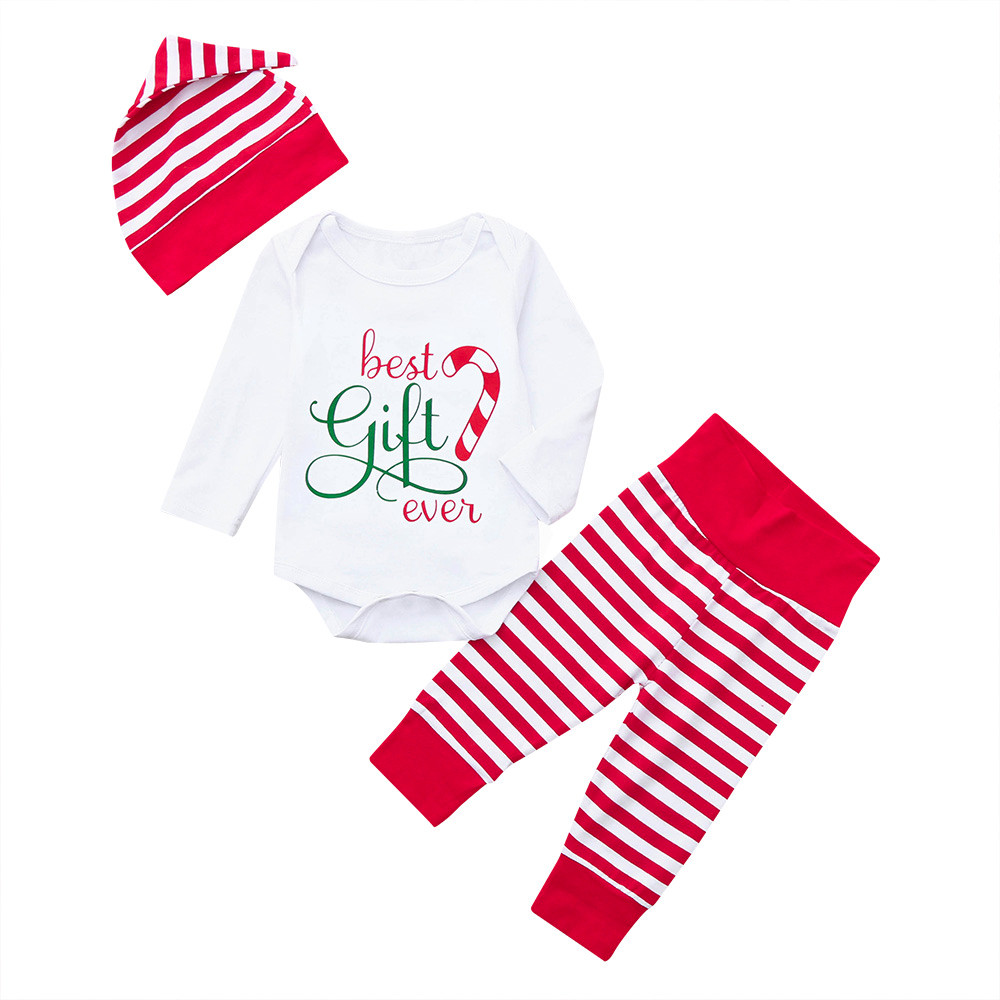 Clothing Sets Boys' Baby Clothing 3pc Newborn Baby Girls Boys Striped Tops Romper Pants Cap Clothes Christmas Sets Fashion Baby Suit Costume Pour Enfants#g6 In Pain