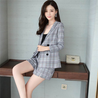 Women Vintage Suit Set Plus Size Spring Plaid Print Lady Elegant Office Suit And Shorts Female