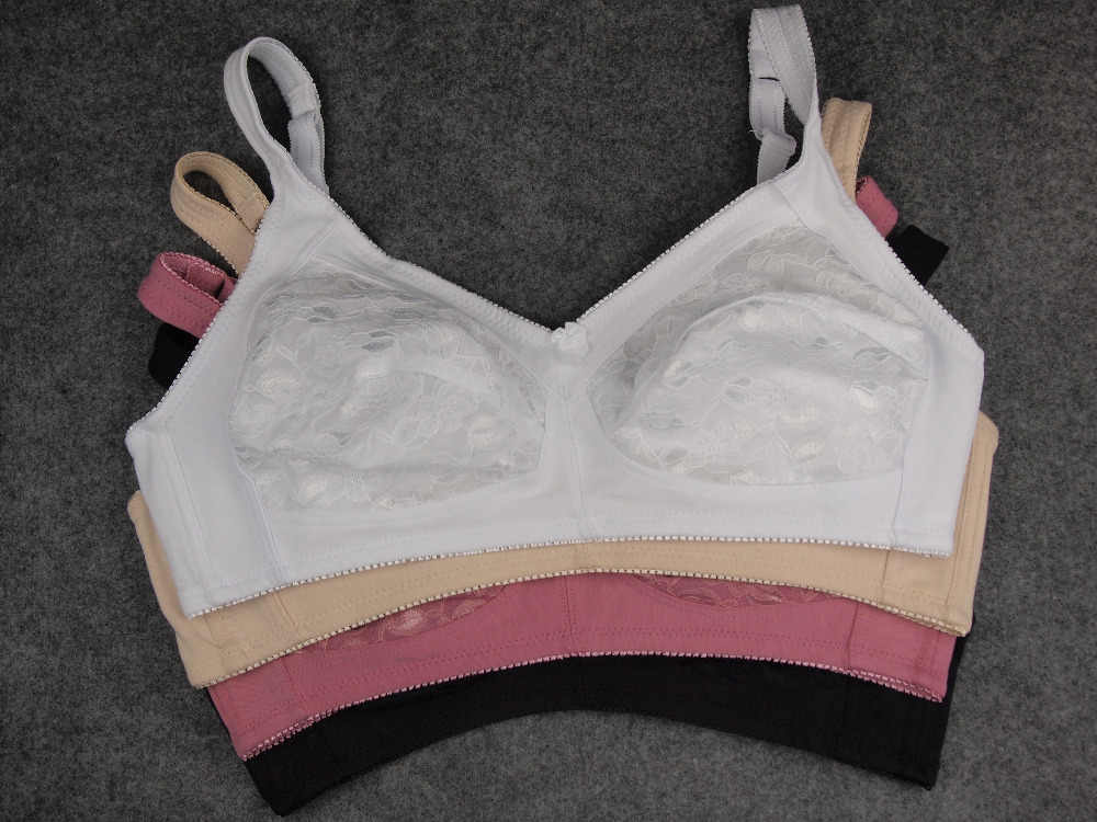 feca31c7e1550 ... Big Size Bras women Floral brassiere Adult Cotton Intimates Wire Free  Lingerie 46 48 50 52 ...