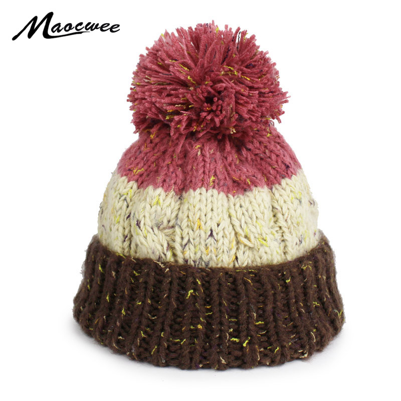 2017 Winter   Beanies   For Women Knitted Acrylic Hat Mix Colors   Skullies     Beanies   Knit Big Pompom Caps Female Winter Hat Bone Gorras