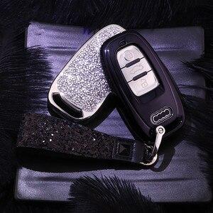 Image 2 - Nueva funda de diamante para llave de coche para Audi A6L A4L Q5 A3 A4 B6 B7 B8 llavero inteligente para niñas y mujeres regalos accesorios de concha