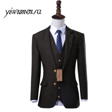 2018 Custom made tuxedo slim fit men 3 piece suits wedding dress For men tweed suit menblazer mens suit