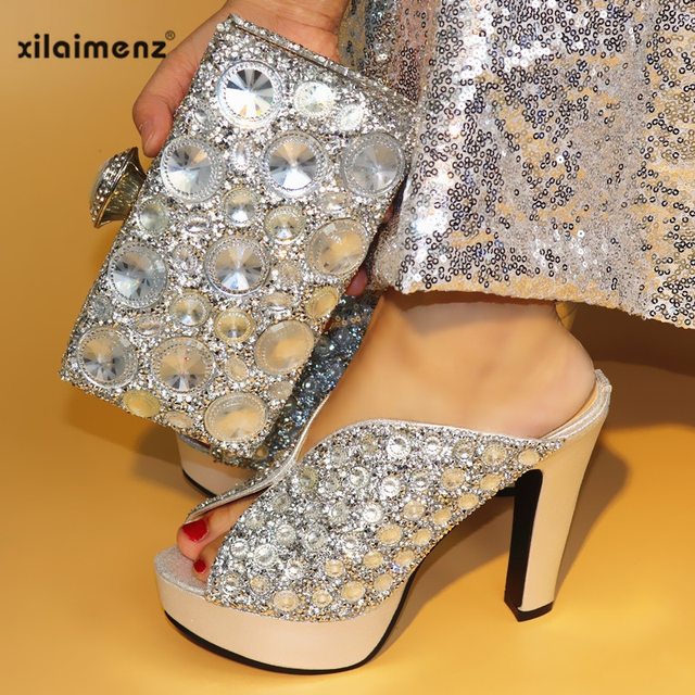 Gold Party Shoes and Bag Set Women Shoes and Bag Set In Italy Design Italian Shoes with Matching Bag Set Decorated with Stone
