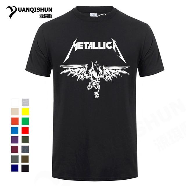 a7894859 Classic Heavy Metal Metallica Rock Men's T-Shirt Top Quality 16 Colors Cotton  T Shirt Men Summer Short Sleeve Top Tee Unisex