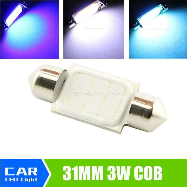 31mm Dome Festoon COB LED 3W 12smd leds Car Reading Lamp Light Crystal Blue White Lights DC 12V 211-2 578 212-2 Bulb g4 3w 280lm 3000k ac 12v led cob car bulb cabinet dome light soft white