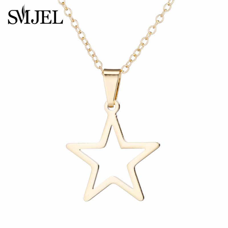 SMJEL or collier ras du cou pour femmes creux étoiles pendentifs colliers Chokers mode étoile boucle d'oreille filles tous les jours bijoux brincos