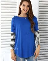 Hot Sale Women fashion hit color stitching Slim T-shirt tops women's clothing casual round neck striped long-sleeved T-shirt