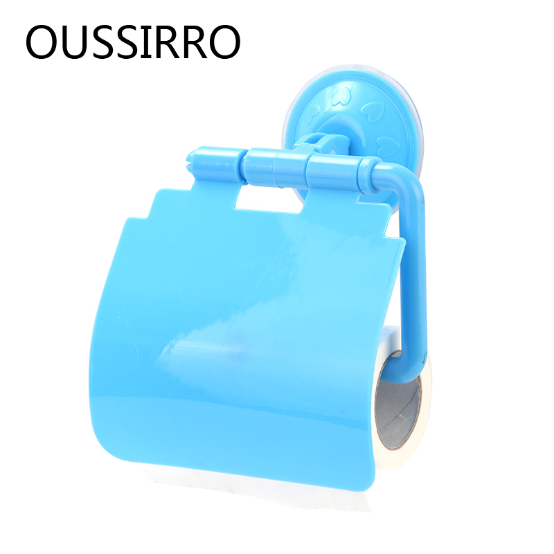 Fashion Toilet Paper Holder With Sucker PP Storage Shelf For Kitchen Strong Suction Roll Paper Storage Rack Bathroom Accessories