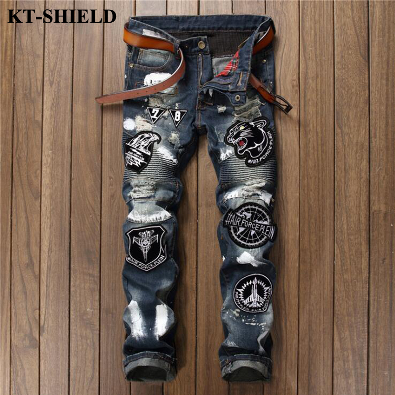 New Mens Jeans Fashion Men Ripped Jeans Pants Vaqueros Hombre Long Trousers Designer Hip Hop Casual Denim Men Slim Jeans fashion 3d printed embroidery jeans men biker ripped slim full length pants cotton cargo harem casual trousers vaqueros hombre