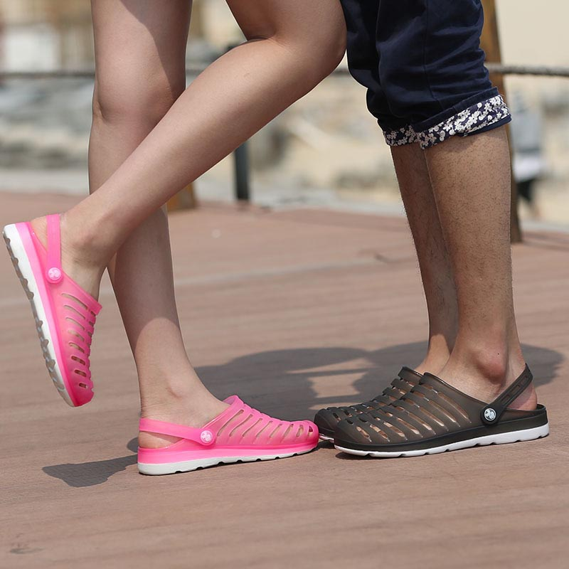 product Big Size Summer Clogs for men and women zuecos comfortable beach klompen hole garden shoes candy color flats