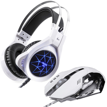 Deep Bass Colorful LED Backlight Gaming Headphones Computer Gamer Headset+3200 DPI 6 Button USB Wired Gaming Mouse for Pro Gamer