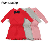 Girl Winter Clothes Set Autumn Kids Clothing 2018 Long Sleeve Knit Sweater Coat+Skirt 2pcs Girl Boutique Outfits