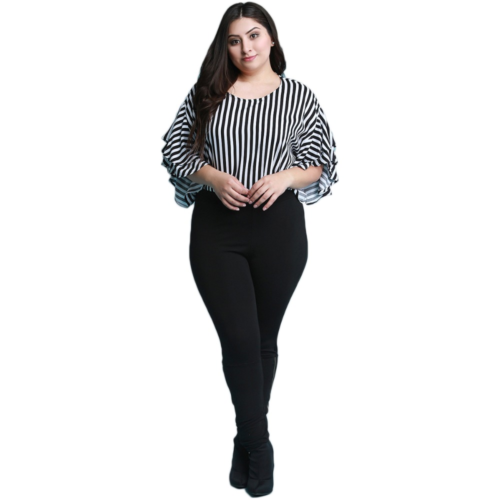 Plus Size Casual Black And White Stripe Half Ruffles Sleeve Blouse Women Loose Basic O Neck Long Shirt Tops 6XL 7XL 1