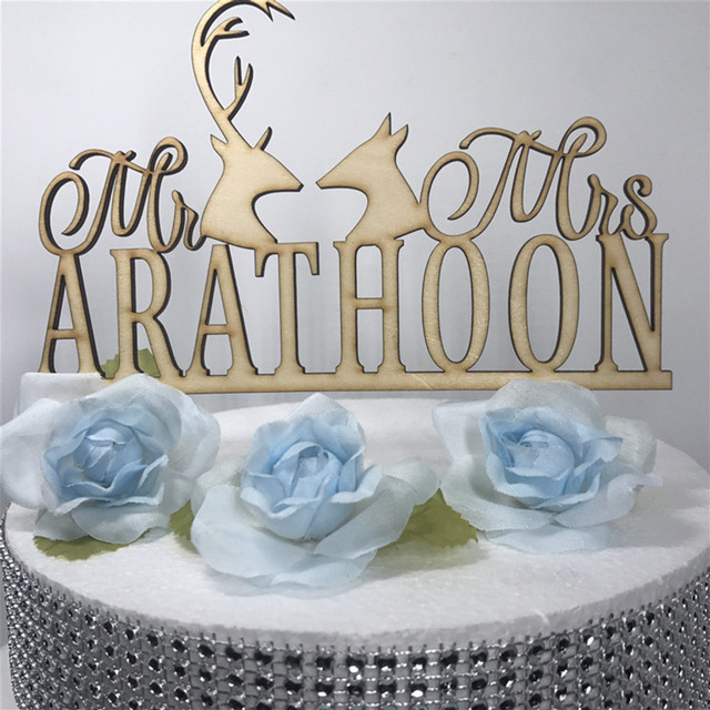 Custom Wedding Mr And Mrs Cake Topper Last Name Personalized Hunt Acrylic Silver
