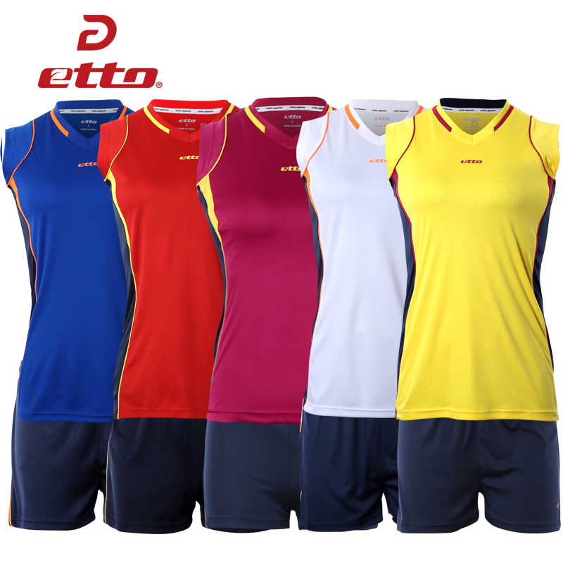 Etto 2018 New Professional Women วอลเลย์บอล Jerseys เครื่องแบบชุดกีฬา Sportwear หญิงวอลเลย์บอลแขนกุดการฝึกอบรมชุด HXB008