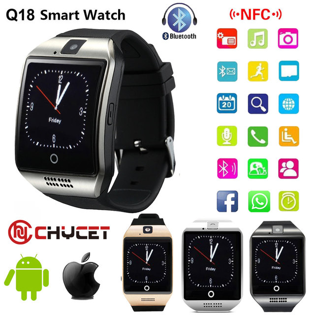 5c354fc035 Bluetooth Smart Watch Q18 Smartwatch Support NFC SIM Card GSM camera For Android  IOS Smart clock