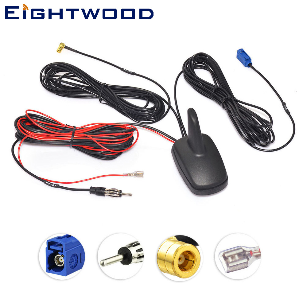 Eightwood Car DAB FM GPS Radio Amplified Combined Shark Antenna Roof Mount Shark Fin Aerial for