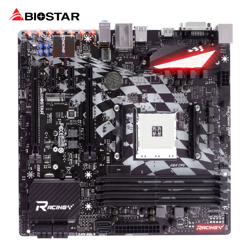 BIOSTAR X370GT3 Racing Gaming Motherboard For AMD Ryzen 1800 1700 x Micro-ATX Computer AM4 board DDR4 Up To 64G Support HDMI 4K