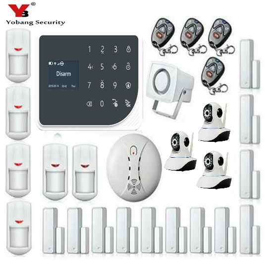 Yobang Security Wireless SIM Home RFID Burglar Security LCD Touch Keyboard WIFI GSM Alarm System Sensor kit Russian,Spanish