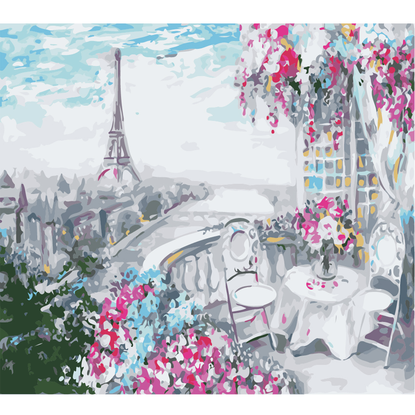 WEEN Bridge Paris Tower DIY Painting By Numbers Kits for kids, Wall Art Picture, Acrylic Canvas For Home Decor 40x50cm